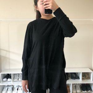 Black zipper long tee